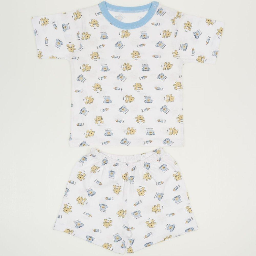 Pijamale vara cu maneca scurta si pantaloni scurti alba imprimeu model ursuleti | liloo