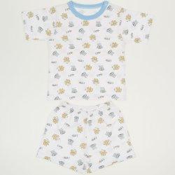 Pijamale vara cu maneca scurta si pantaloni scurti alba imprimeu model ursuleti
