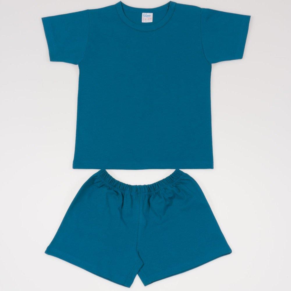 Pijamale vara cu maneca scurta si pantaloni scurti albastru inchis-verzui uni | liloo