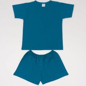 Pijamale vara cu maneca scurta si pantaloni scurti albastru inchis-verzui uni