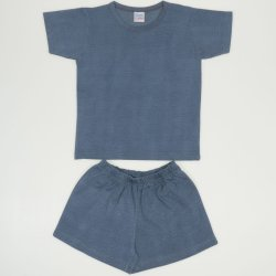 Pijamale vara cu maneca scurta si pantaloni scurti albastru-verzui melange uni