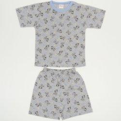 Pijamale vara cu maneca scurta si pantaloni scurti gri imprimeu model catelusi