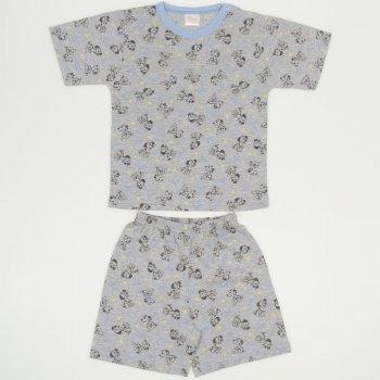 Pijamale vara cu maneca scurta si pantaloni scurti gri imprimeu model catelusi  | liloo