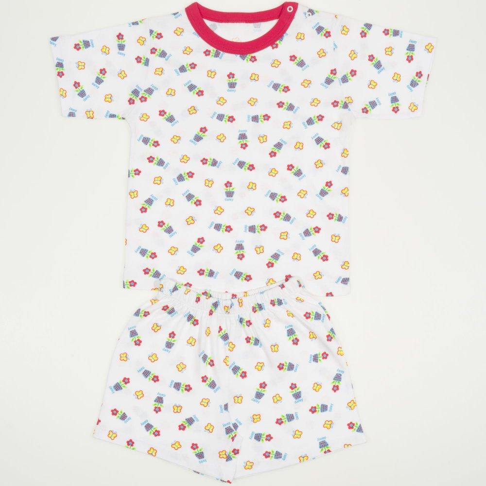 Pijamale vara cu maneca scurta si pantaloni scurti alba imprimeu model floricele | liloo