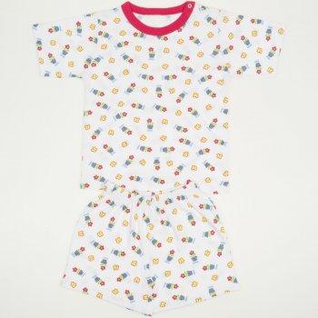 Pijamale vara cu maneca scurta si pantaloni scurti alba imprimeu model floricele