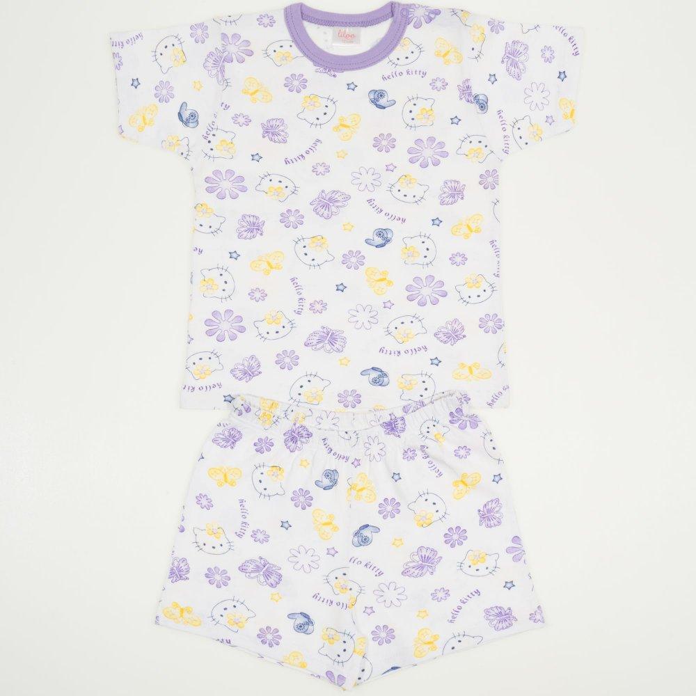 Pijamale vara cu maneca scurta si pantaloni scurti alba imprimeu Hello Kitty | liloo