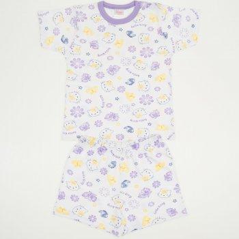 Pijamale vara cu maneca scurta si pantaloni scurti alba imprimeu Hello Kitty