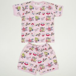 """Pijamale vară cu mânecă scurtă și pantaloni scurți roz imprimeu """"Sponge Bob"""""""