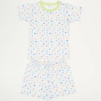 Pijamale vară cu mânecă scurtă și pantaloni scurți imprimeu model marin - peștișori