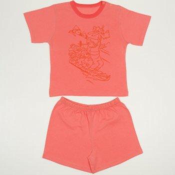Pijamale vara cu maneca scurta si pantaloni scurti somon deschis imprimeu soricei | liloo