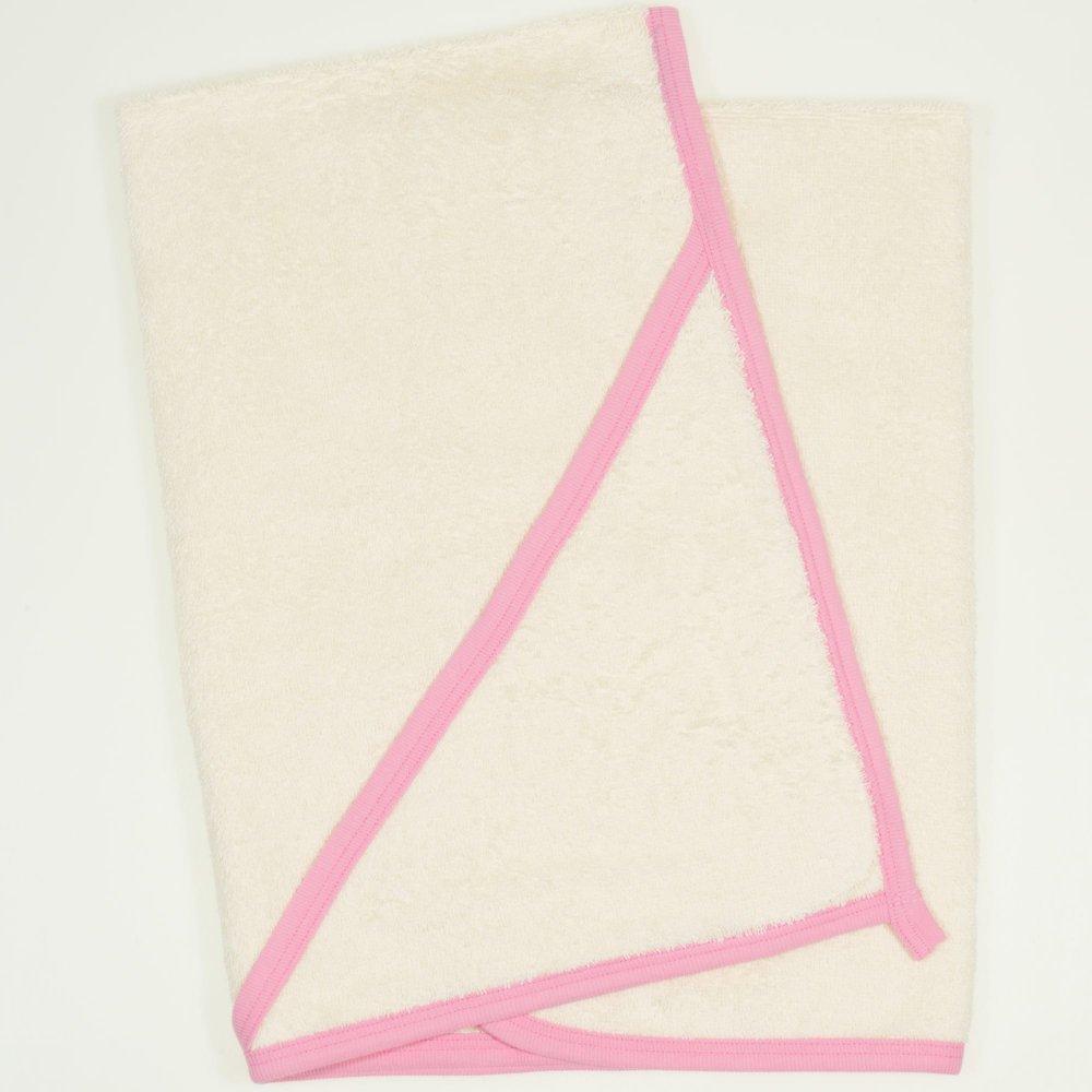 Prosop mic cu glugă - ivory cu bordaj roz | liloo