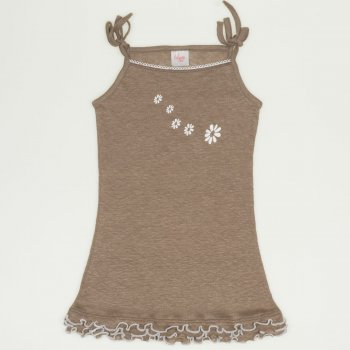 Rochiță simplă cu bretele șireturi - maro imprimeu floricele | liloo