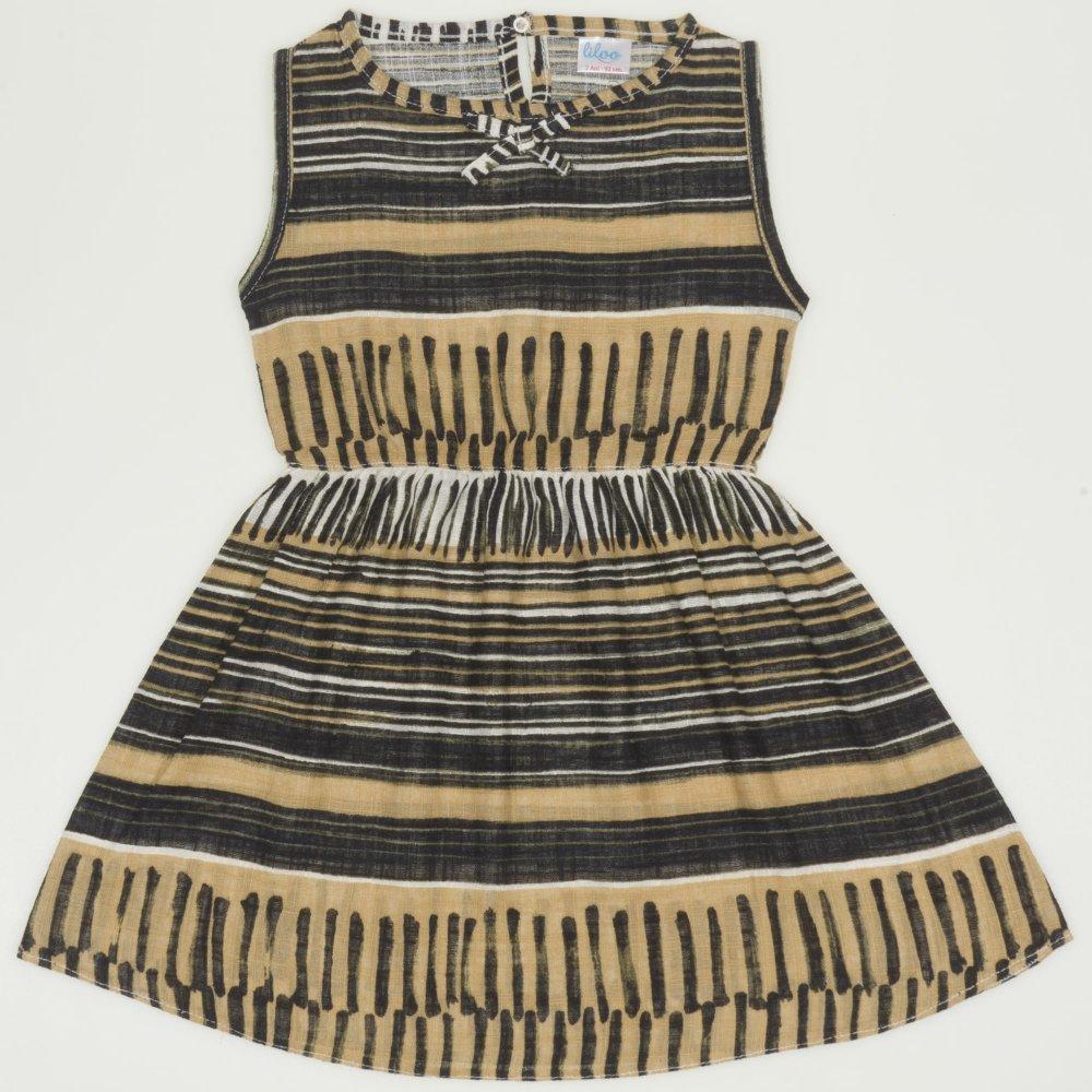 Rochiță de vară maro model popular stilizat negru | liloo