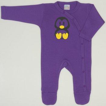 Salopeta maneca lunga si pantaloni cu botosei mov deep lavender imprimeu pinguinul Tux
