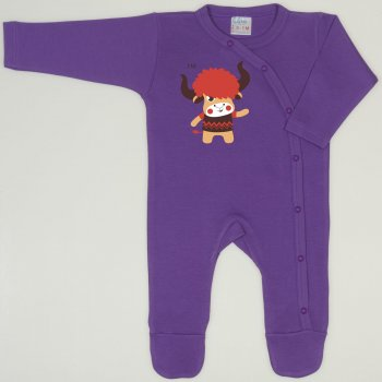 Salopeta maneca lunga si pantaloni cu botosei mov deep lavender imprimeu Yak