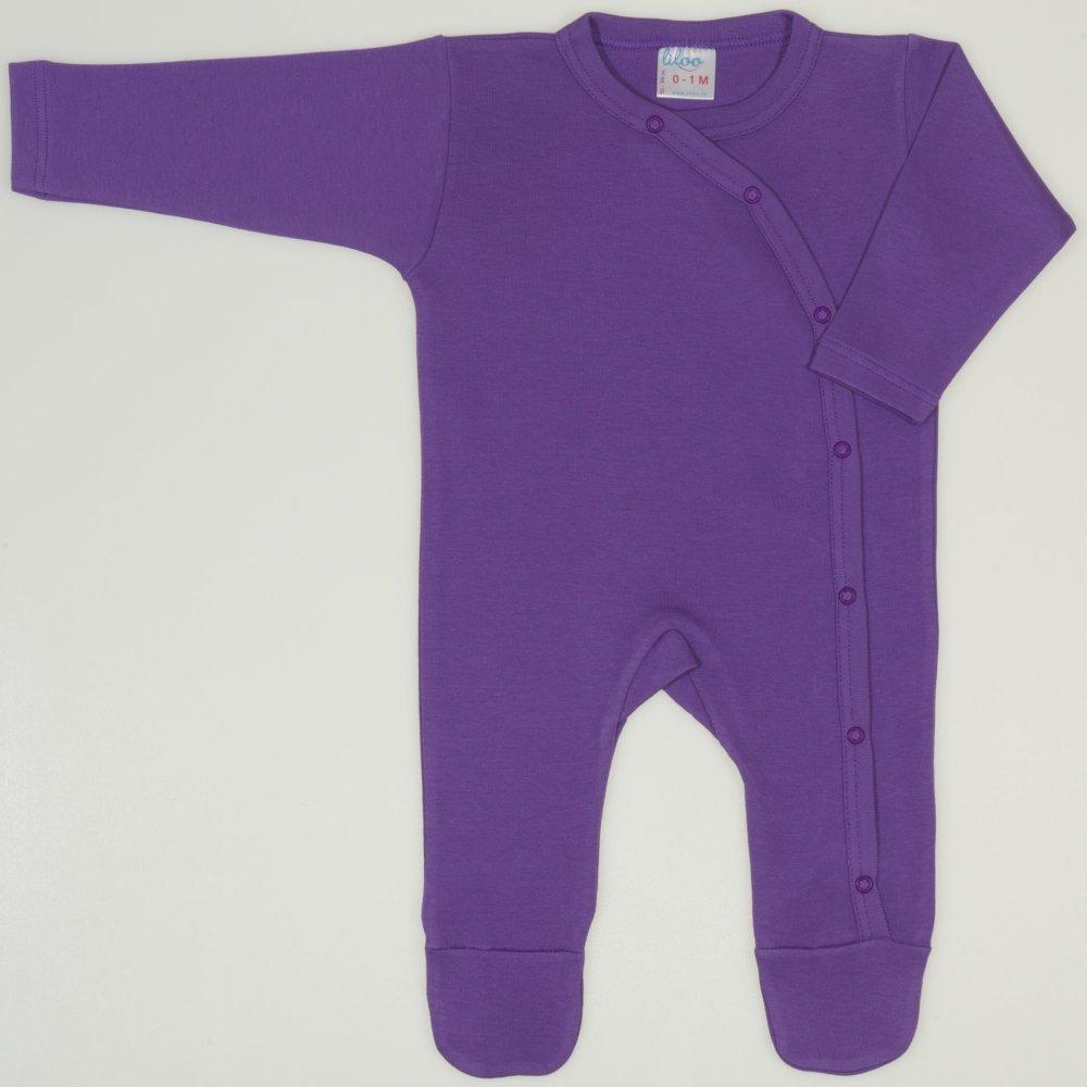 Salopeta maneca lunga si pantaloni cu botosei mov deep lavender uni  | liloo