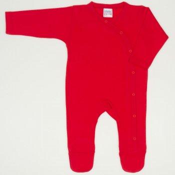 Salopeta maneca lunga si pantaloni cu botosei rosu tomato uni