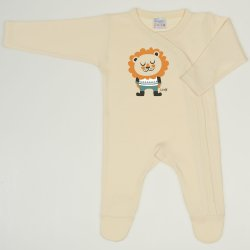 Vanilla custard long-sleeve sleep & play with footies with lion print
