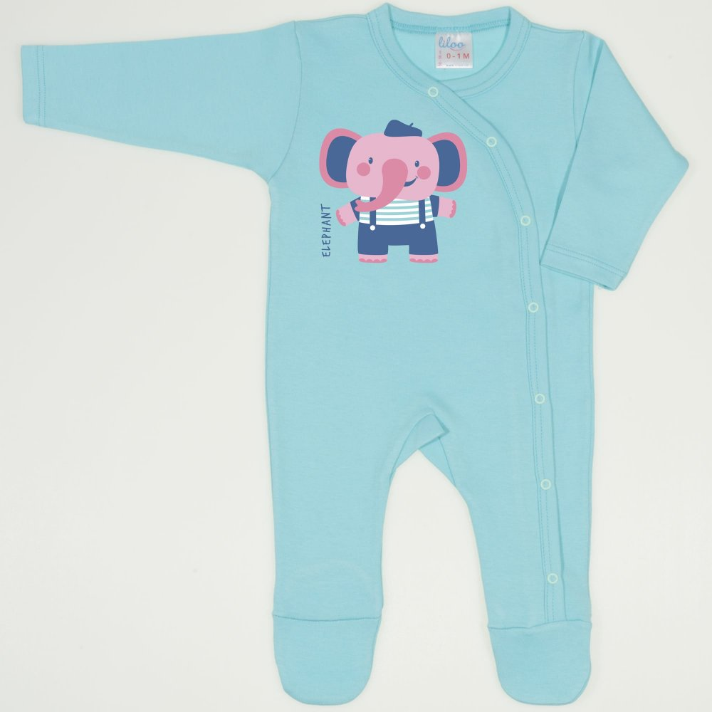 Salopeta maneca lunga si pantaloni cu botosei blue radiance imprimeu elefant | liloo