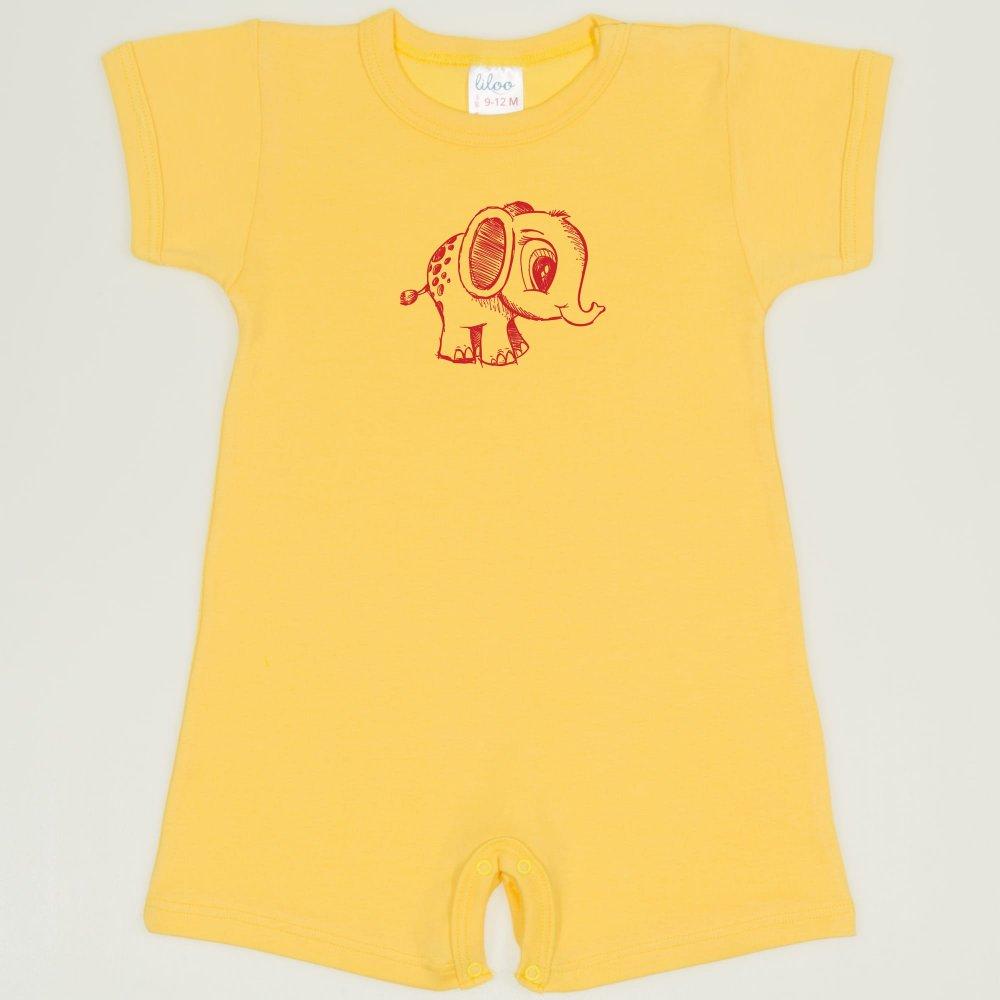 Salopeta maneca scurta si pantaloni scurti minion yellow imprimeu elefantel | liloo
