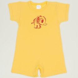 Salopeta maneca scurta si pantaloni scurti minion yellow imprimeu elefantel