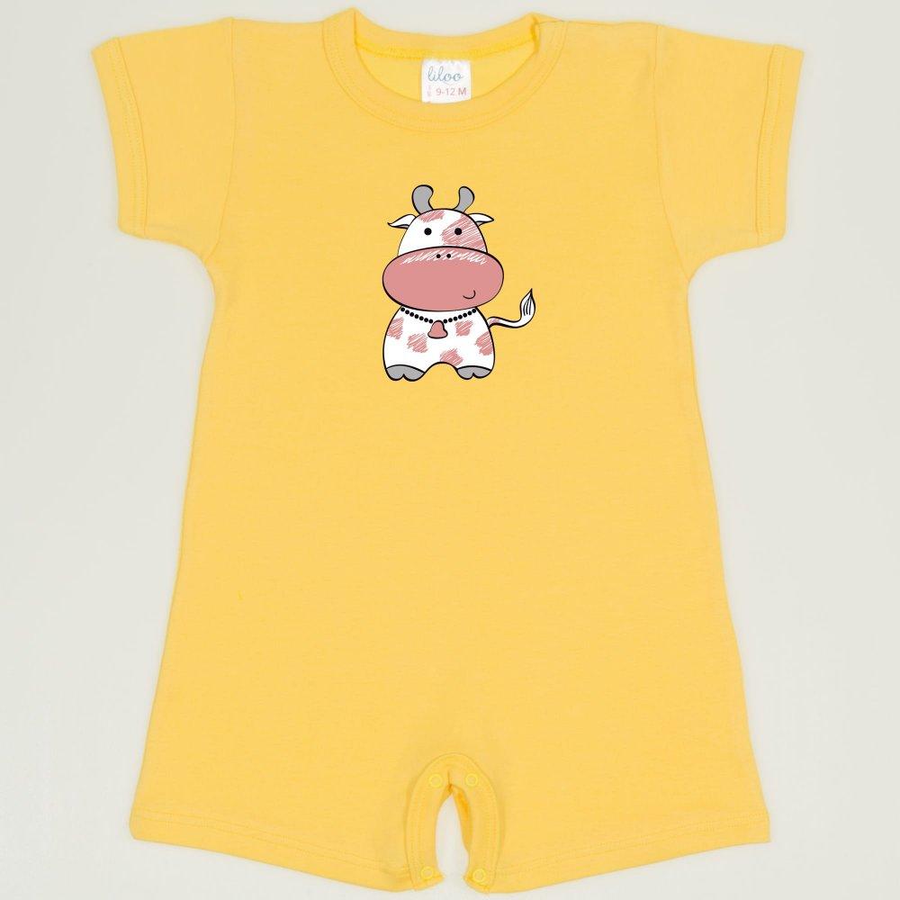 Salopeta maneca scurta si pantaloni scurti minion yellow imprimeu vacuta| liloo
