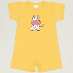 Minion yellow romper (short sleeve & pants) with cow print
