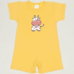 Salopeta maneca scurta si pantaloni scurti minion yellow imprimeu vacuta