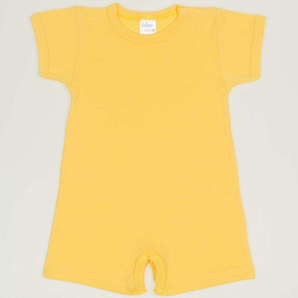 Salopeta maneca scurta si pantaloni scurti minion yellow uni | liloo
