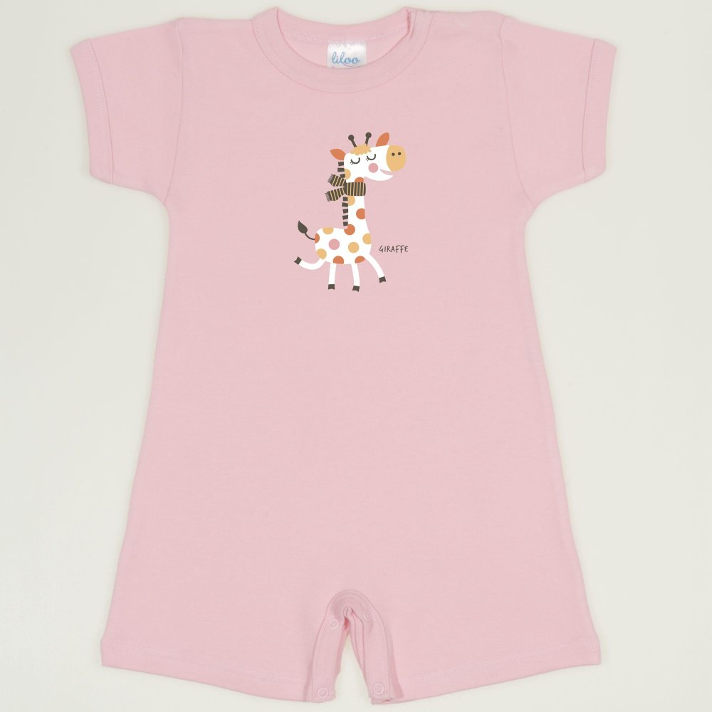 Salopeta maneca scurta si pantaloni scurti orchid pink imprimeu girafa | liloo