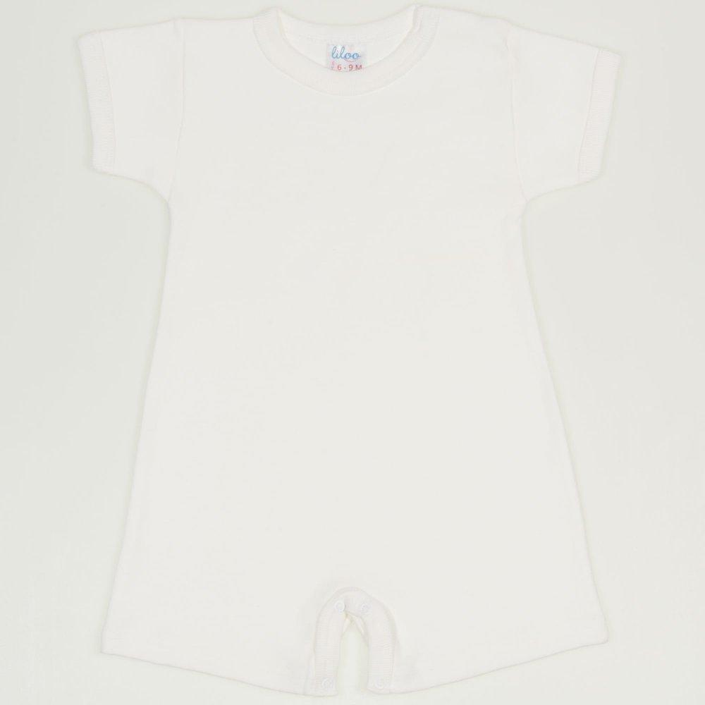 Salopeta maneca scurta si pantaloni scurti blanc de blanc uni| liloo