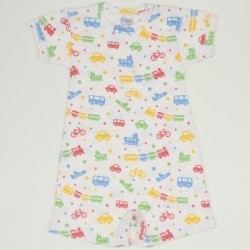 White romper (short sleeve & pants) with transport toys print