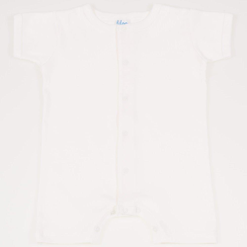 Salopeta maneca scurta si pantaloni scurti blanc de blanc uni - inchidere frontala | liloo
