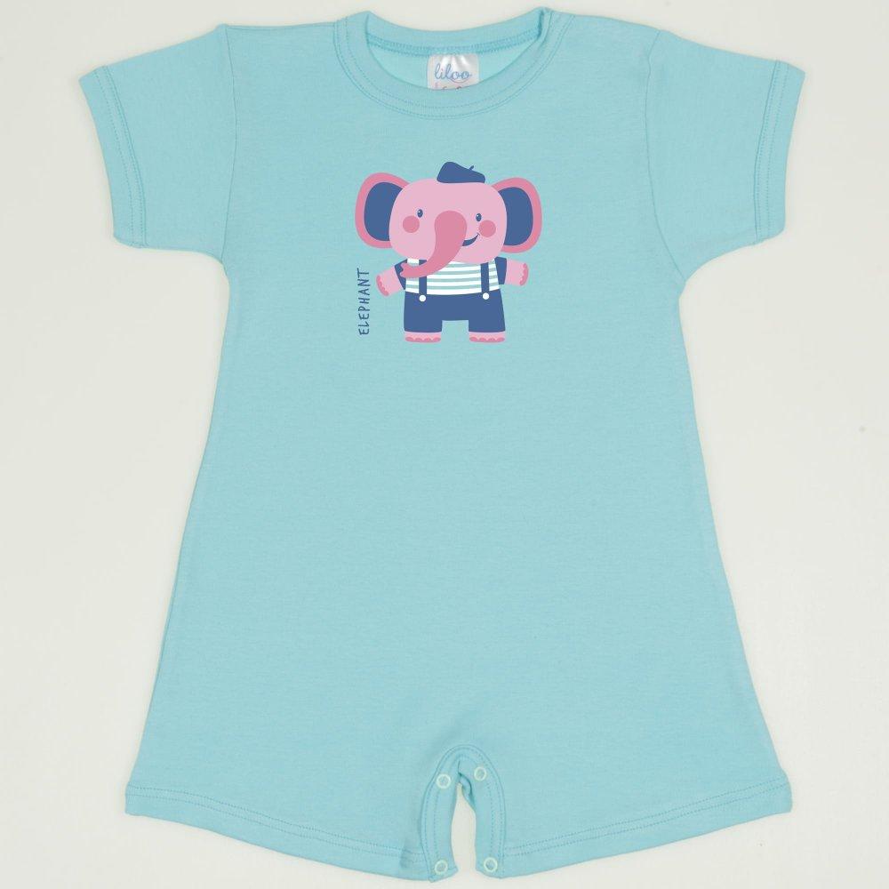 Salopeta maneca scurta si pantaloni scurti blue radiance imprimeu elefant | liloo