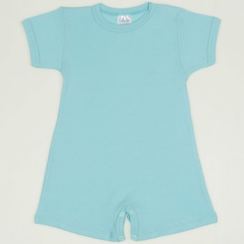 Salopeta maneca scurta si pantaloni scurti blue radiance uni | liloo