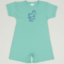 Cockatoo romper (short sleeve & pants) with horse print
