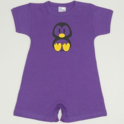 Purple deep lavender romper (short sleeve & pants) with Tux penguin print