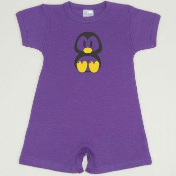 Salopeta maneca scurta si pantaloni scurti mov deep lavender imprimeu pinguinul Tux | liloo