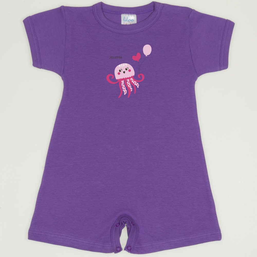 Salopeta maneca scurta si pantaloni scurti mov deep lavender imprimeu meduza | liloo