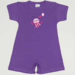 Purple deep lavender romper (short sleeve & pants) with sea nettle print