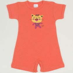 Salmon living coral romper (short sleeve & pants) with cool cat print