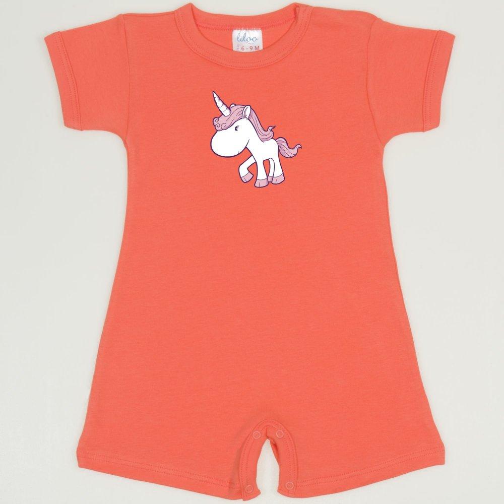 Salopeta maneca scurta si pantaloni scurti somon living coral imprimeu unicorn | liloo