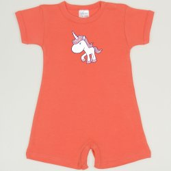 Salmon living coral romper (short sleeve & pants) with unicorn print