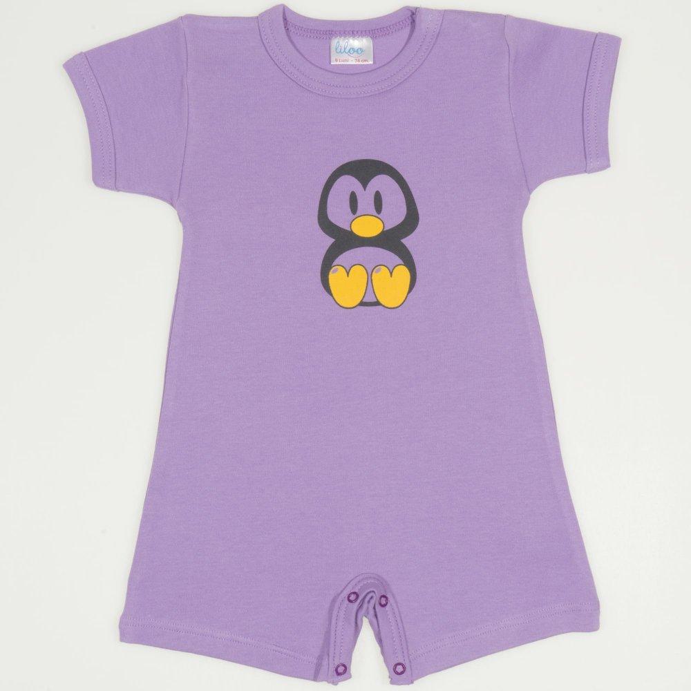 Salopetă mânecă scurtă și pantaloni scurți violet imprimeu pinguinul Tux | liloo