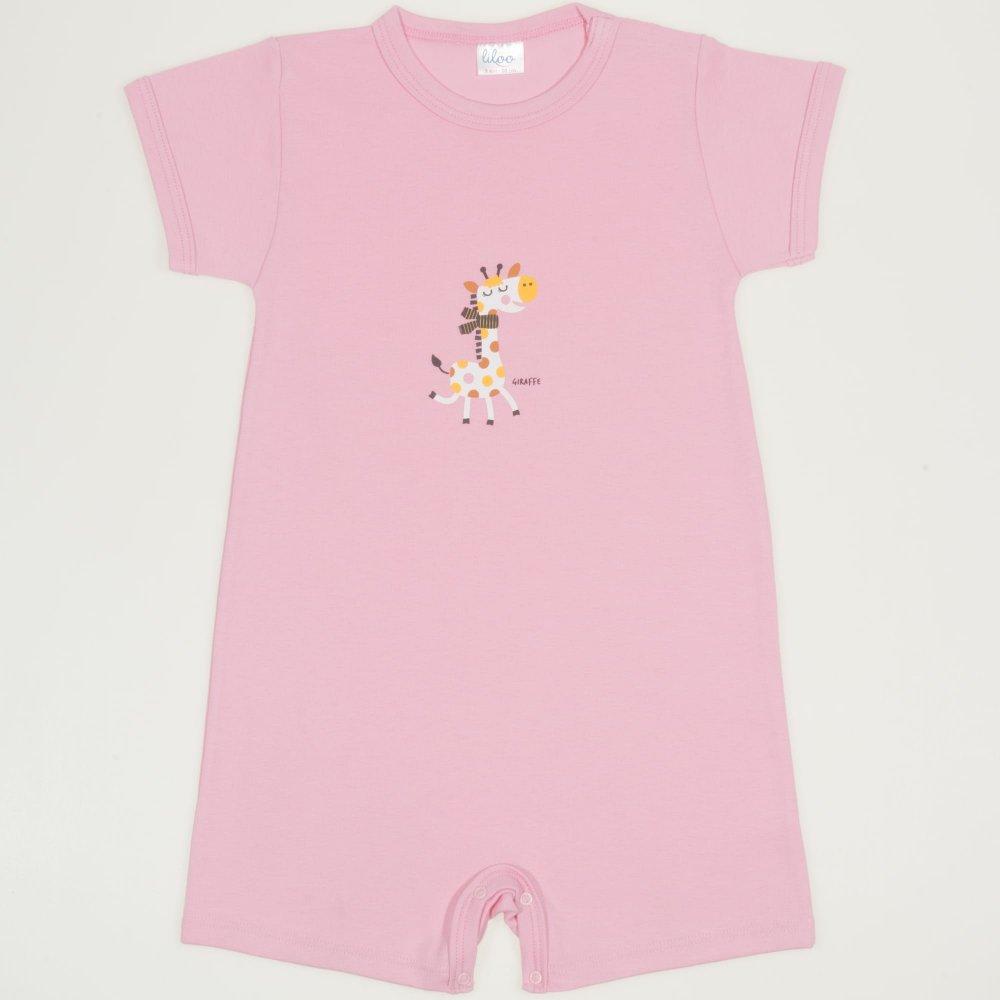 Salopetă mânecă scurtă și pantaloni scurți roz imprimeu girafă| liloo