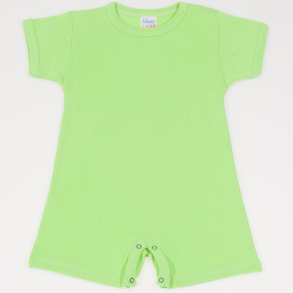 Salopeta maneca scurta si pantaloni scurti summer green uni | liloo