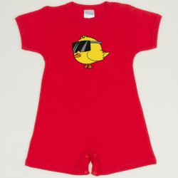 Red tomato romper (short sleeve & pants) chicken with glasses print