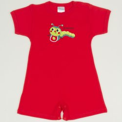 Red tomato romper (short sleeve & pants) with worm print