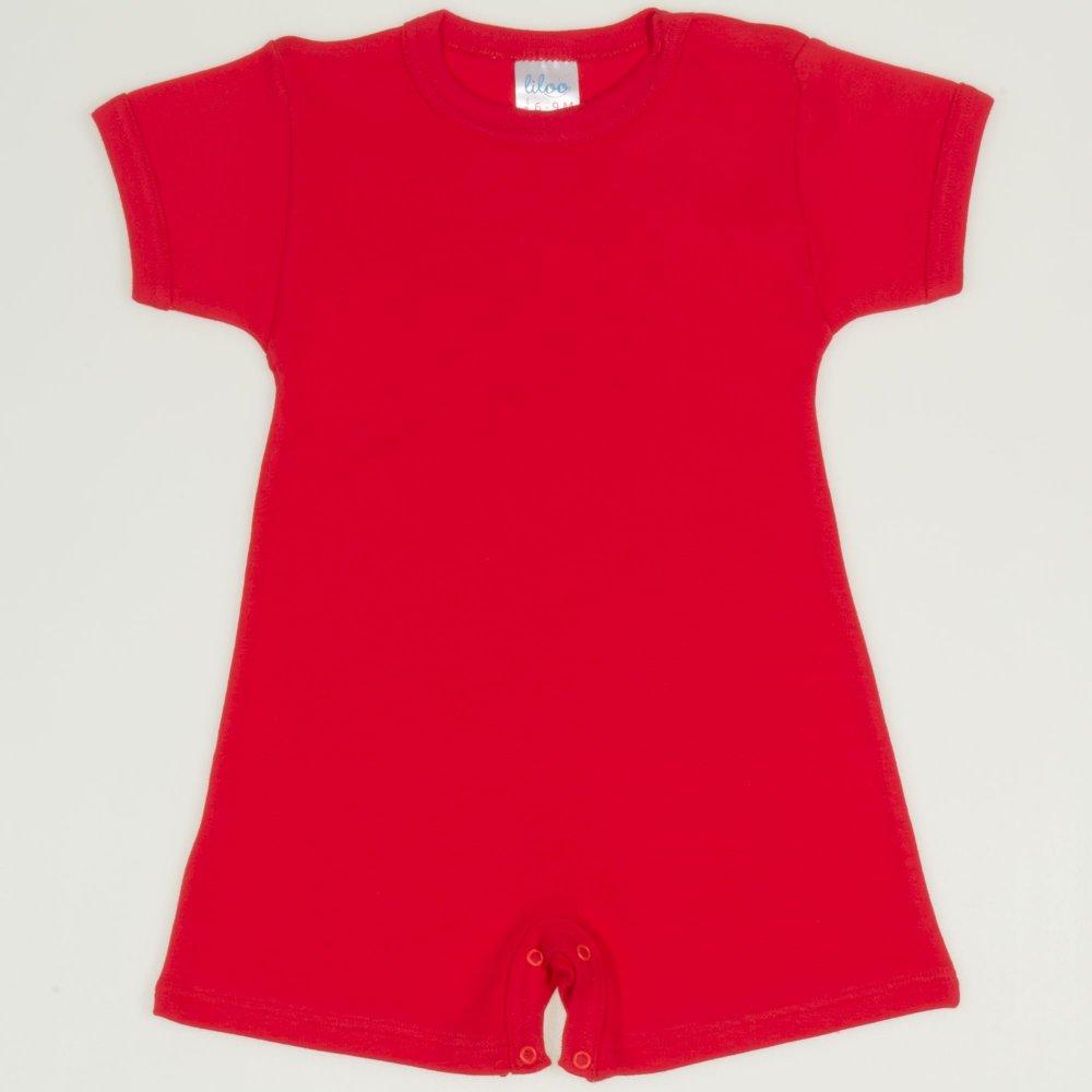 Salopeta maneca scurta si pantaloni scurti rosu tomato uni | liloo
