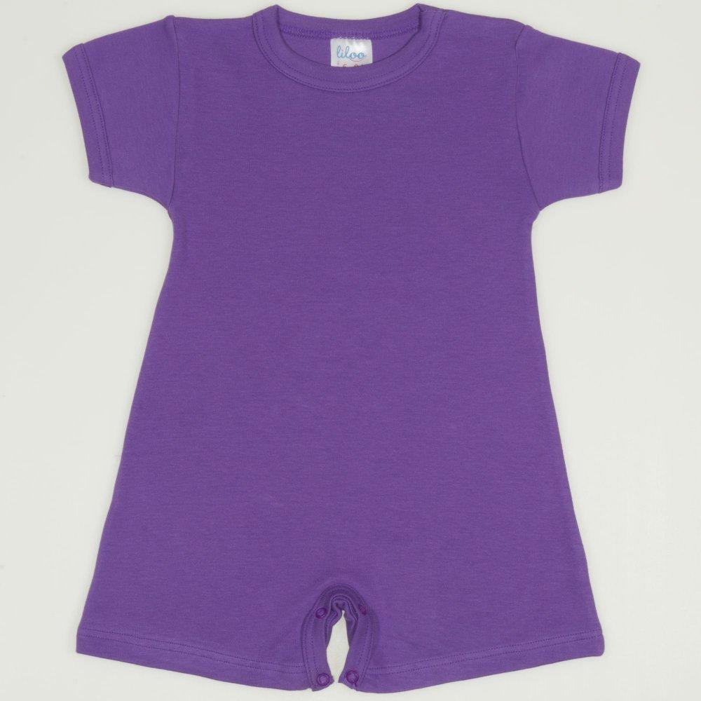 Salopeta maneca scurta si pantaloni scurti mov deep lavender uni | liloo